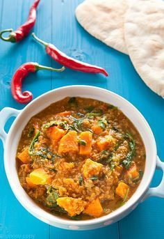 curry, w/ sweet potatoes and lentils (Dutch recipe) Dutch Recipes, Raw Food Recipes, Veggie Recipes, Indian Food Recipes, Asian Recipes, Vegetarian Recipes, Cooking Recipes, Healthy Recipes, Healthy Food