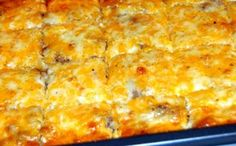 Best Ever Breakfast Casserole: 1 can crescent rolls, 1 lb sausage, 6 eggs, 1 pkg cream cheese, 1 1/2 cup cheddar cheese.