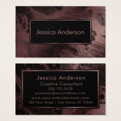 Patterned Rose Gold and Black Marbled Texture Business Card - chic design idea diy elegant beautiful stylish modern exclusive trendy