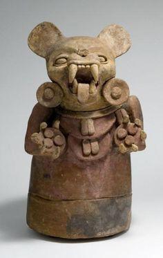 Incensario maya con cabeza de Jaguar (en museo guatemaleco)