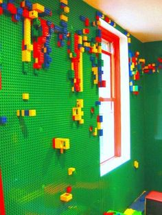 Lego Wall:  Why did I not think of this when my kiddo was younger?   LOVE this!...way cool...maybe not a whole room but perhaps for below the chair rail? Or maybe one whole wall....very cool though!