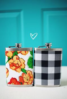 Easiest DIY ever & such a fun gift idea! Oil-cloth covered flasks!