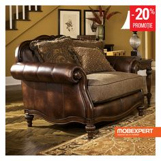 Antique Chair and by Ashley Furniture # Flowing with the rich beauty of Old World design, the Claremore Antique upholstery collection features the comfort of thick rolled arms wrapped in faux leather upholstery perfectly complementing the s. Living Room Sets, Living Room Chairs, Living Room Furniture, Home Furniture, Furniture Stores, Royal Furniture, Danish Furniture, Tuscan Furniture, Furniture Dolly