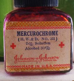 Mercurochrome, our Neosporin if you were a kid in the I remember this!/Sure do remember! I remember the pain on an open cut. I'll see if I still have the old bottle. If so, I'll post a picture on this This Is Your Life, Oldies But Goodies, I Remember When, Good Ole, Sweet Memories, Bad Memories, Cherished Memories, The Good Old Days, Vintage Toys