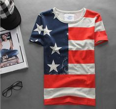 best service 4f839 be4ba Casual T Shirts, Men Casual, Workout Shorts, American Flag, Mens Fitness,
