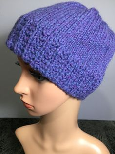 "Adult's Hand Knit Winter Cap/Hat/Beanie, Fits Heads 19-22"" 8"" H, Periwinkle Blue Heather Color, Wool/Mohair Yarn Blend, Fast Shipping Periwinkle Blue, Purple, Mohair Yarn, Fabric Squares, Caps Hats, Hand Knitting, Winter Hats, Crochet Hats, Beanie"