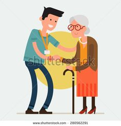 Modern creative flat design on young volunteer man caring for elderly woman…