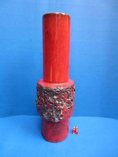 Große Otto Keramik Fat Lava Vase rot schwarz - 34 cm - 70' s design WGP