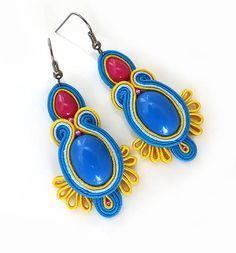 Yellow blue earrings Unique earrings gypsy jewelry by sutaszula