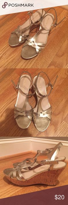 Gold Metallic Wedges Gently used, buckle strap Franco Sarto Shoes Wedges