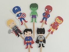 Superheroes Cupcake Toppers/ Superhero Toppers/Boy Party/Boy Birthday/Superhero by DianasDen on Etsy