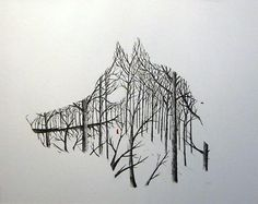 Artistic Takes on 9 Classic Fairy Tales | Mental  - Little Red Riding Hood - Matt Saunder's take on Little Red's tale is visually stunning and the design is so effective that it manages to sum up the tale of a little girl wandering through the woods while being stalked by a vicious wolf all in one beautiful, concise image.