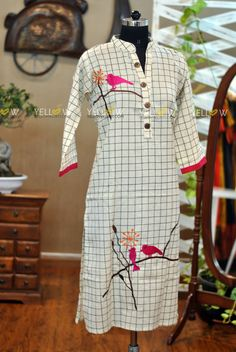 Yellow Kurti. Contact : yellowkurti@gmail.com  Email : keerthi@yellowkurti.com. Latest Kurta Designs, Kurta Designs Women, Kurti Neck Designs, Dress Neck Designs, Embroidery On Kurtis, Kurti Embroidery Design, Bird Embroidery, Shirt Style Kurti, Bird Clothing