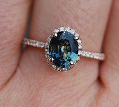 Green blue sapphire engagement ring. Peacock by EidelPrecious