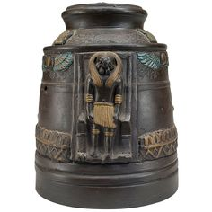 1920s Japanese Egyptian Revival Tobacco Jar | From a unique collection of antique and modern tobacco accessories at https://www.1stdibs.com/furniture/more-furniture-collectibles/tobacco-accessories/