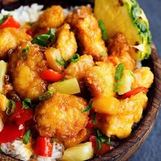 Ingredients    3-4 boneless, skinless chicken breasts  Salt and pepper to taste  1½ cup cornstarch  3 eggs, beaten  ¼ cup canola oil  Sweet Hawaiian Ingredients:  1 cup pineapple juice  ½ cup brown sugar  ⅓ cup soy sauce  1 teaspoon minced garlic  ½ tablespoon cornstarch  1 red pepper chopped  1