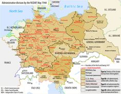 """""""Map of the administrative division of the Greater German Reich ( Germany Poland, Alternate History, Old Maps, Trieste, Prussia, Central Europe, Historical Maps, Dark Evil, Contemporary History"""