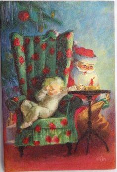 Vintage Christmas Greeting Card - 50s Hallmark Santa & Sleepy Child