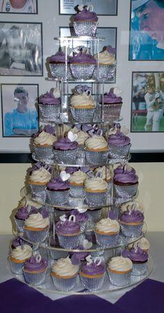 Silver, Purple & Cream 50th Birthday Cupcakes