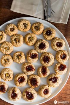 Walnut Macaroon Thumbprint Cookies with Old-Fashioned Fig Preserves by Blackberry Patch. Available at Spoonabilities.com