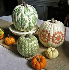 A nontraditional way to decorate your pumpkins for the fall season and what a nice touch on the table at Thanksgiving!!