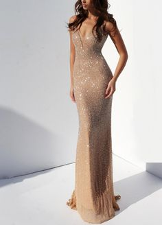 Champagne doesn't sparkle as bright as you in Sherri Hill Decked out in intricate beading from start to finish, this long, fitted gown features an illusion plunge neckline, spaghetti straps, an Vestido Sherri Hill, Sherri Hill Prom Dresses, Dress Prom, Gown Dress, Nude Prom Dresses, Bridesmaid Dress, Ball Dresses, Ball Gowns, Evening Dresses