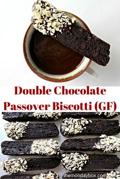 Double Chocolate Passover Biscotti (GF)- Crunchy and super chocolaty! A delightfully indulgent dipping cookie. Sturdy enough to dunk in milk or coffee, but also great on their own!| The Monday Box