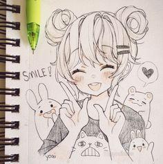 Cute Sketches, Art Drawings Sketches Simple, Love Sketch, Cute Girl Sketch, Drawing Ideas, Cute Kawaii Drawings, Cartoon Drawings, Kawaii Girl Drawing, Manga Girl Drawing