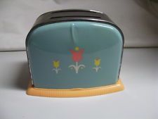 Vintage Toaster 50s Toy Mid Century Tin Plastic Child's Play Collectible Floral