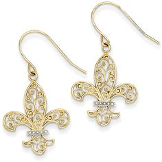 14K Yellow Gold and Rhodium Fleur de lis Shepherd Hook Earrings (395 PLN) ❤ liked on Polyvore featuring jewelry, earrings, gold, gold dangle earrings, gold jewellery, yellow gold dangle earrings, 14 karat gold jewelry and 14k gold jewelry