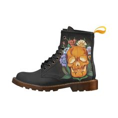 Skull woman boots and flowers digital painting tropical