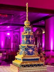 A gorgeous sculptural Indian wedding cake at an Sikh-Hindu fusion wedding.