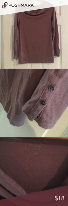 Anne Taylor LOFT plum long sleeve tunic So pretty plum color! Never worn. Cute button detail on sleeves! LOFT Tops Tunics