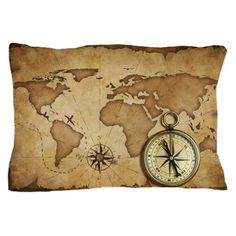 aged brass antique nautical compass an Pillow Case on CafePress.com