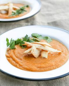 Sweet potato,  chili & lime soup