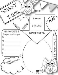 Printables Free All About Me Worksheet its all about me activities and projects celebrating students owl themed printable