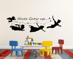 G156 Never Grow up Peter Pan Quote Silhouette  #HomeDecor