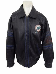 Miami Dolphins NFL Brand Leather Jacket Size XL #NFL #MiamiDolphins