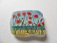 Poppies by the beach - Original acrylic miniature painting on pretty frosted English sea glass. via Etsy