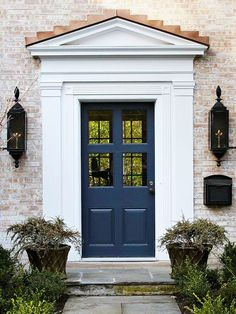 A navy blue door is