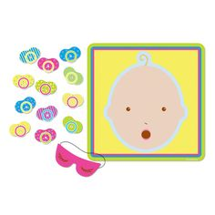This Pin the Pacifier Game features a human take on the classic game; pin the pacifier is a fun and challenging baby shower game. Great way to break the ice. Th