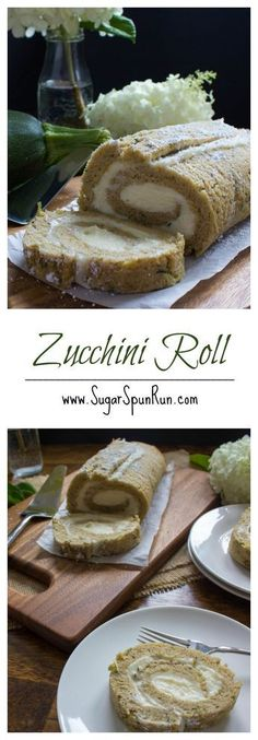 Zucchini Roll fun, easy way to use up zucchini! from SugarSpunRun - Zucchini rezepte Zucchini Desserts, Köstliche Desserts, Delicious Desserts, Dessert Recipes, Yummy Food, Zucchini Bread, Zucchini Cookies, Zuchinni Recipes Bread, Shredded Zucchini Recipes