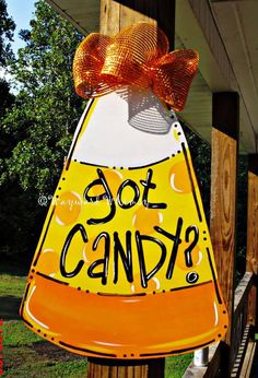 CANDY CORN Door hanger Halloween door hanger by TheWaywardWhimsy, $35.00