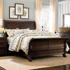 Master Bedroom Paint Colors with Dark Furniture Colour Schemes - Overview - walmartbytes Cherry Furniture, Dark Wood Furniture, Bed Furniture, Furniture Stores, Dark Furniture Bedroom, Antique Furniture, Hudson Furniture, Furniture Design, Furniture Dolly