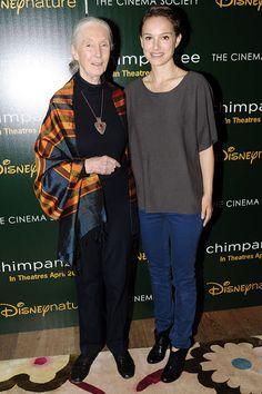Natalie Portman and Jane Goodall at a screening of documentary Chimpanzee Jane Goodall, Chimpanzee, Natalie Portman, 2 In, Inspire Me, My Eyes, Make Me Smile, My Hero, Documentaries
