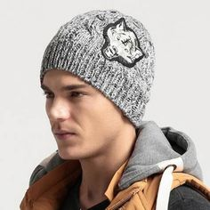 55a8c47ab3899 Wolf head patch beanie hat for men winter fleece gray cable knit hats