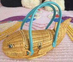 Vintage Purse a Day: Vintage-Style Modern Wicker Fish Handbag. 2000s. M...