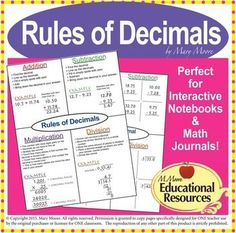 Do you need to teach or review Decimals with your students?  Enjoy a Completely Free - Rules of Decimals Complete Lesson!  An Excellent Teaching Resource.  Perfect for interactive notebooks/journals, & more!A Free Sample of my work on Adding, Subtracting, Multiplying, and Dividing Decimals.