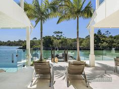glass fence //Waterfront Modern Villa For Perfect Summer, Noosa Heads, Australia Glass Fence, Expensive Houses, Small Places, Pool Landscaping, Outdoor Areas, Sun Lounger, Villa, Real Estate, Australia