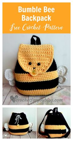 Bumble Bee Backpack Free Crochet Pattern and more backpack free crochet patterns. #freecrochetpatterns